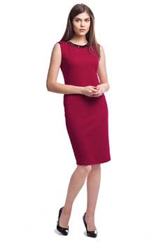 Бордовое платье без рукавов Vilatte